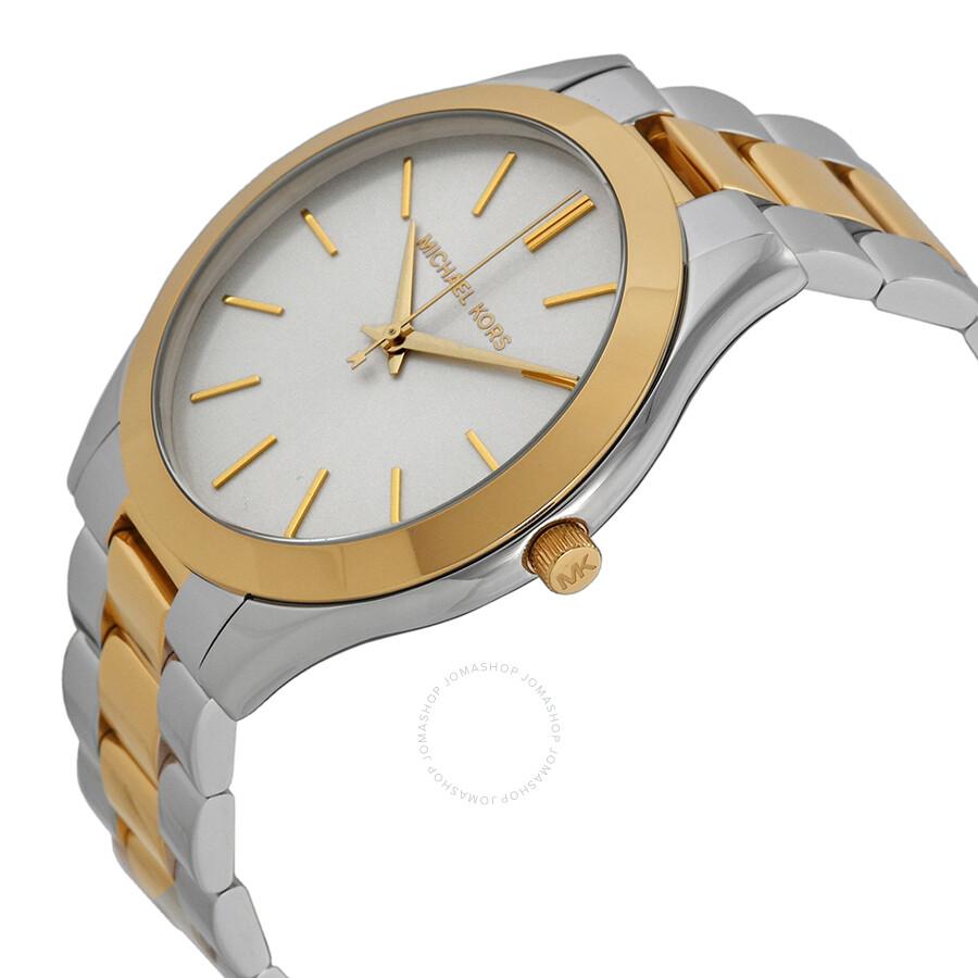 14714afeb334 ... Michael Kors Slim Runway Silver Dial Two-tone Stainless Steel Unisex  Watch MK3198 ...