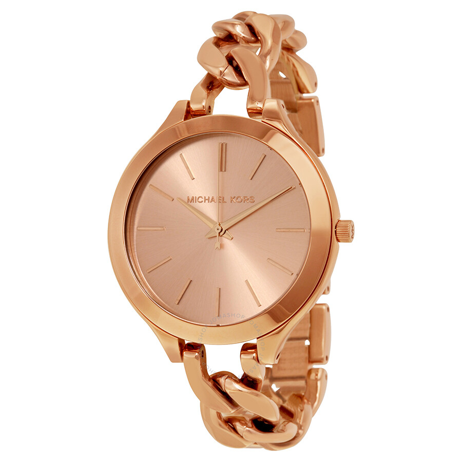 cd1f9b95337f Michael Kors Slim Runway Twist Rose Dial Ladies Watch MK3223 ...