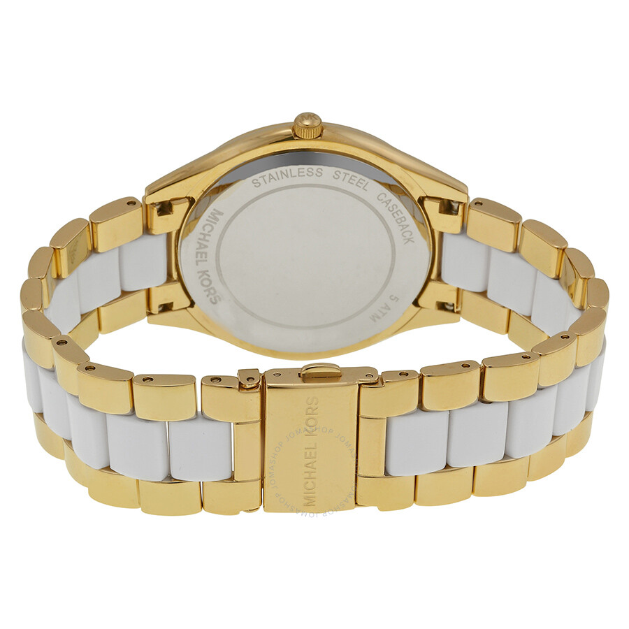 df89219d5417 ... Michael Kors Slim Runway White Dial Gold-tone and White Accetate Watch  MK4295 ...