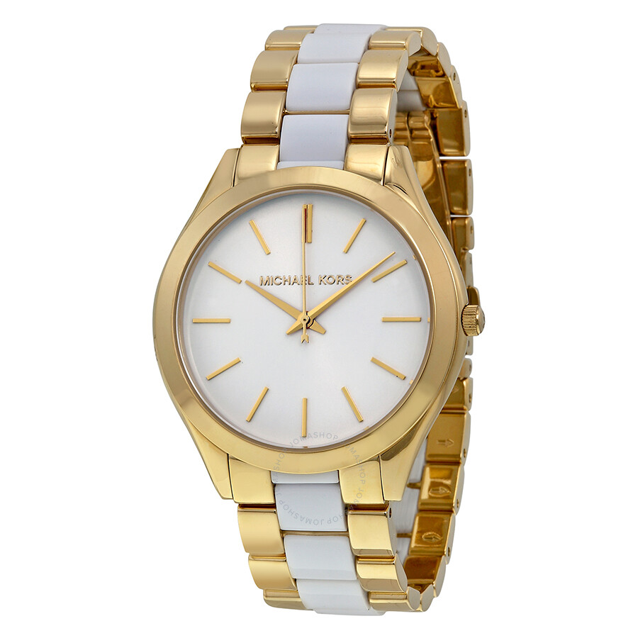 50858d93fa34 Michael Kors Slim Runway White Dial Gold-tone and White Accetate Watch  MK4295 ...