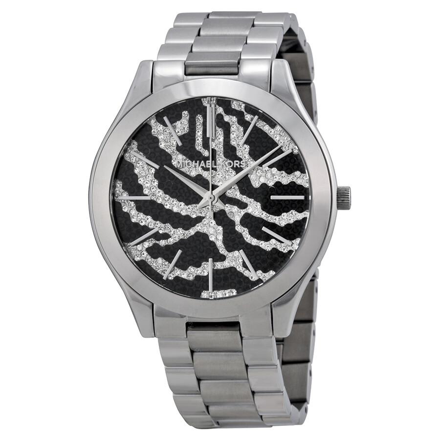 Michael Kors Slim Runway Zebra pattern Crystal Pave Dial Stainless Steel Ladies Watch MK3314