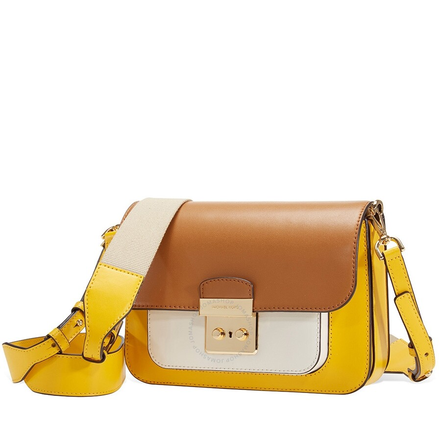 3f266e4888b6e8 Michael Kors Sloan Editor Color-Block Leather Shoulder Bag- Yellow Multi  Item No. 30S8GS9L2T-761