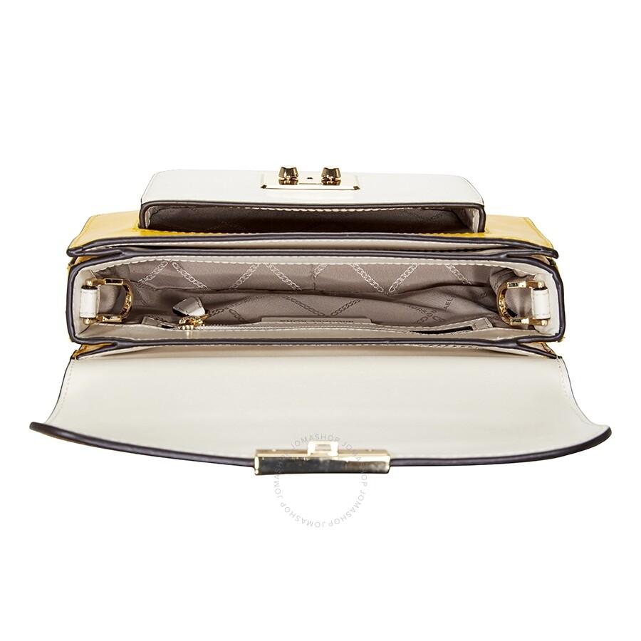 17cc79b1acac Michael Kors Sloan Editor Color-Block Leather Shoulder Bag- Yellow Multi