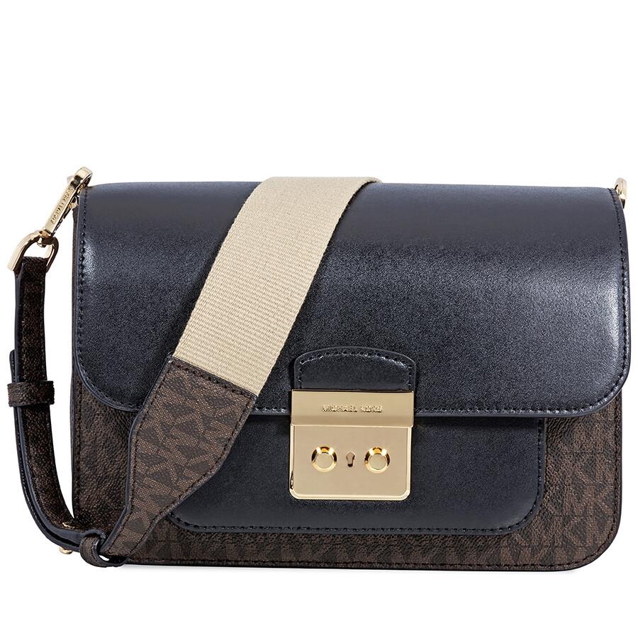 99cb20b974378 Michael Kors Sloan Editor Large Shoulder Bag- Brown Black Item No.  30H8GS9L3B-292