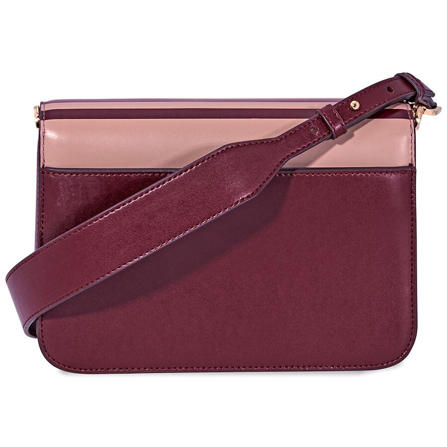 3c6b5ca50b194 Michael Kors Sloan Editor Tri-Color Leather Shoulder Bag- Oxblood ...
