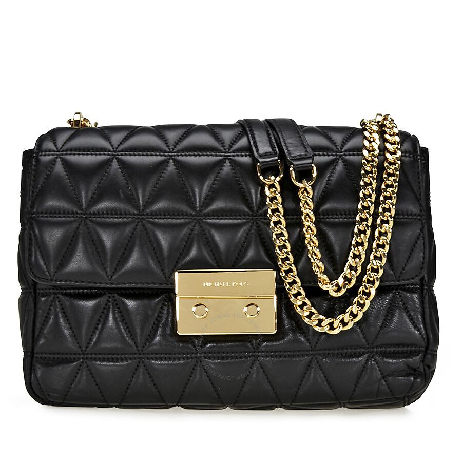michael kors sloan extra large quilted shoulder bag black. Black Bedroom Furniture Sets. Home Design Ideas