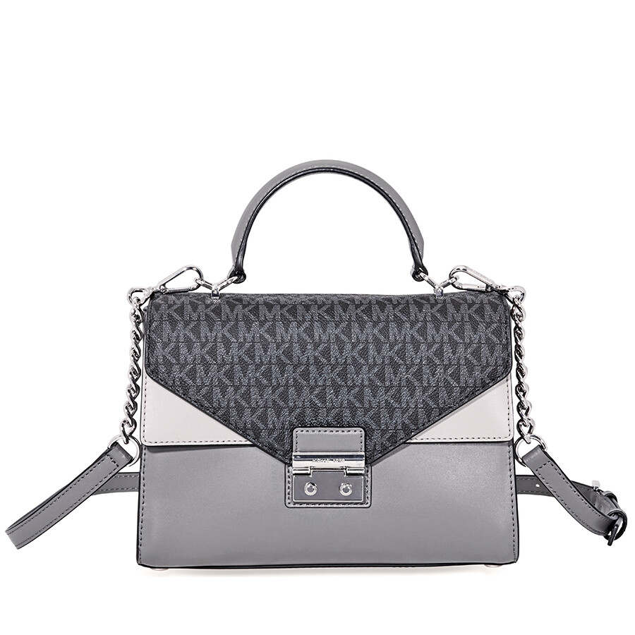 a59db0460520b Michael Kors Sloan King Leather Medium Satchel - Grey Item No. MK30F8SSLS2V