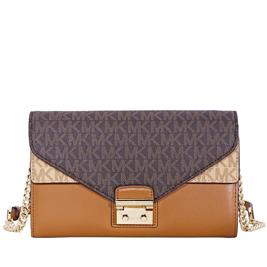 michael kors sloan large leather chain wallet brown acorn true rh jomashop com