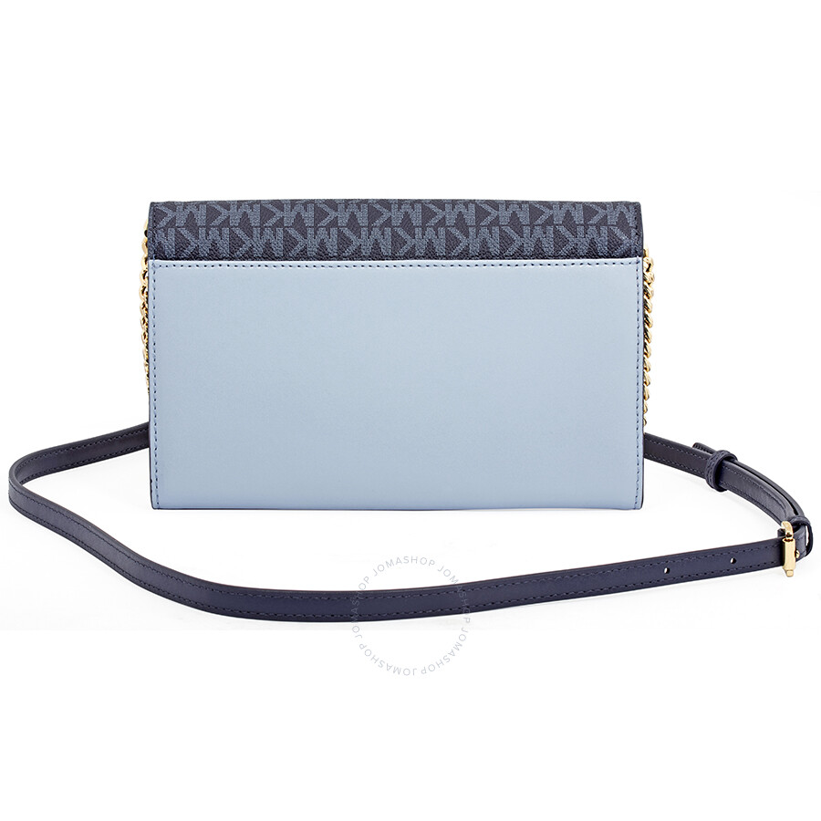 145df9bbaed0 Michael Kors Sloan Large Leather Chain Wallet Pale Blue Admiral