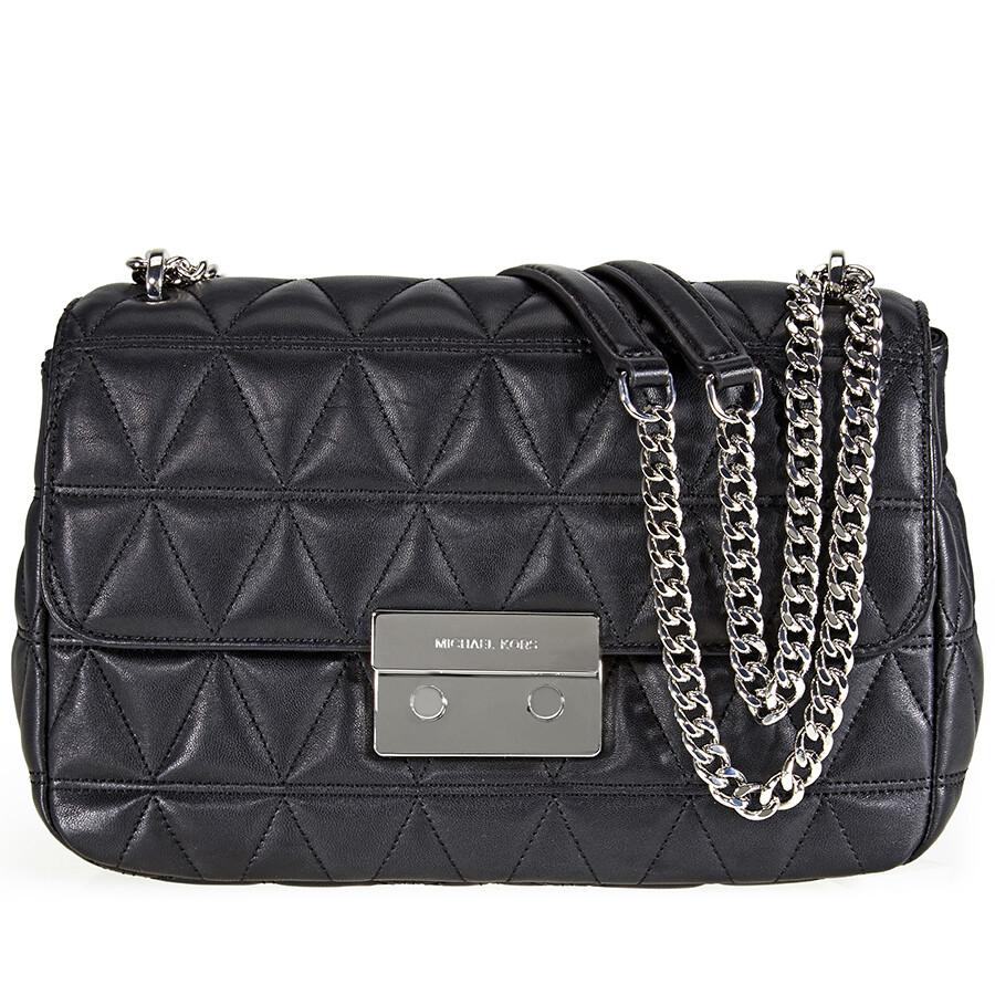 f06c4e245ecc Michael Kors Sloan Large Quilted Shoulder Bag- Black - Sloan ...