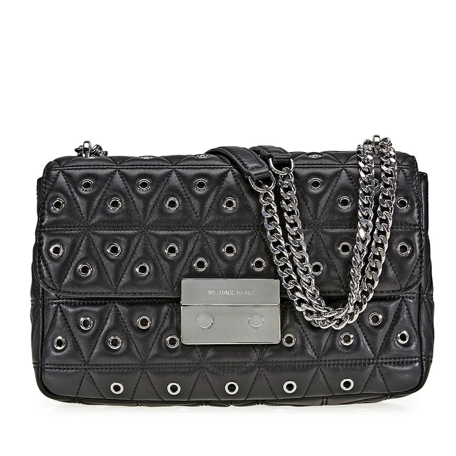 bba424e89c44 Michael Kors Sloan Large Studded Shoulder Bag- Black Item No. 30F7SSLL3O-001