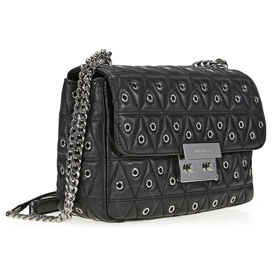 22814a8defac Michael Kors Sloan Large Studded Shoulder Bag- Black - Sloan ...