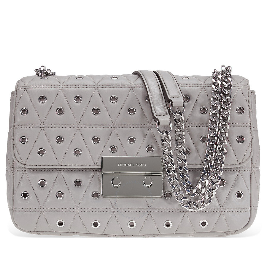 334a42ae6a17 Michael Kors Sloan Large Studded Shoulder Bag- Pearl Grey Item No.  30F7SSLL3O-081