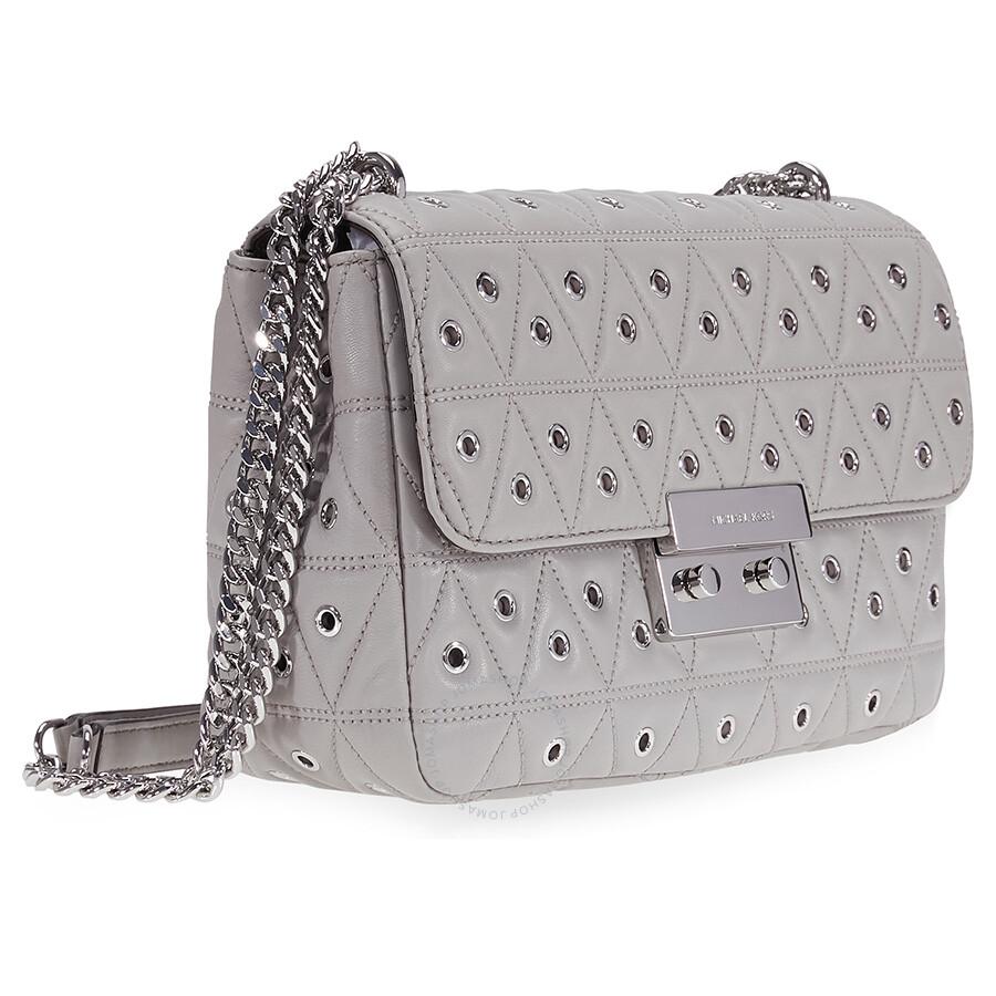 390908f4c442b Michael Kors Sloan Large Studded Shoulder Bag- Pearl Grey - Sloan ...