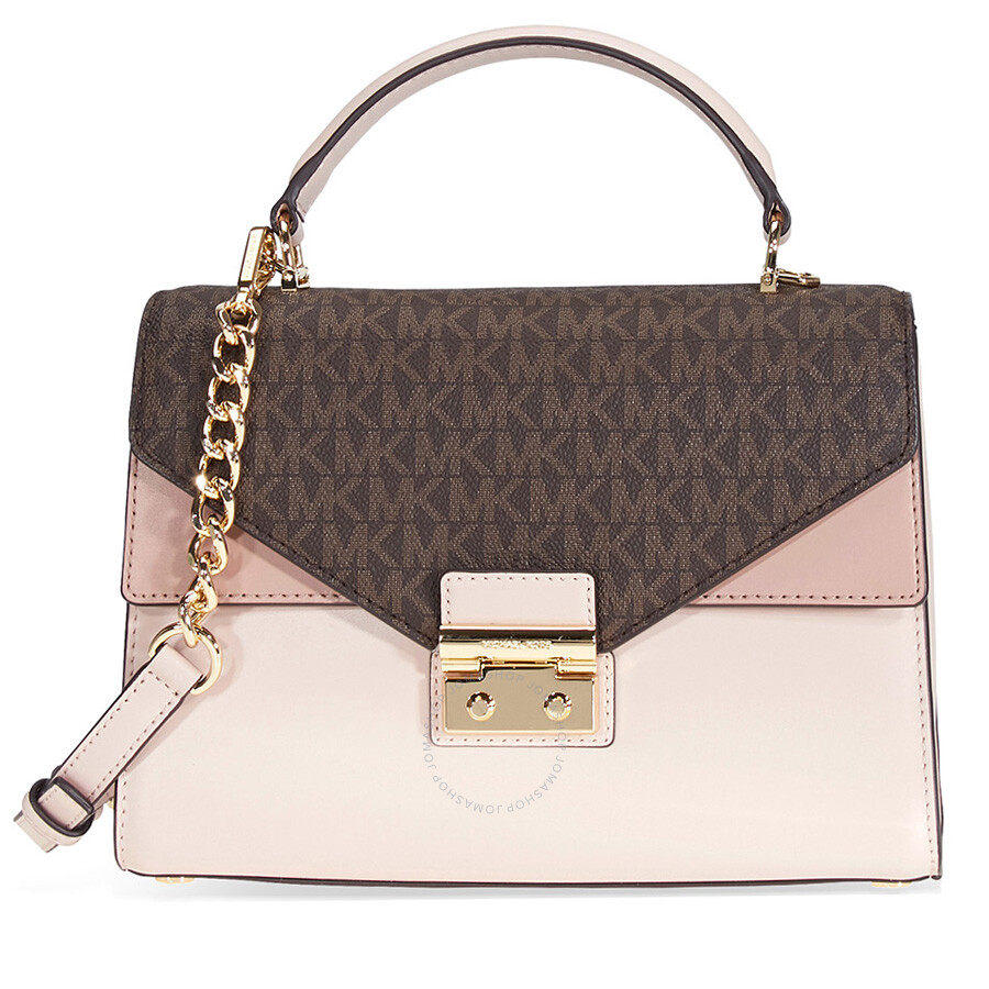 michael kors sloan medium leather and logo satchel brown soft pink rh jomashop com