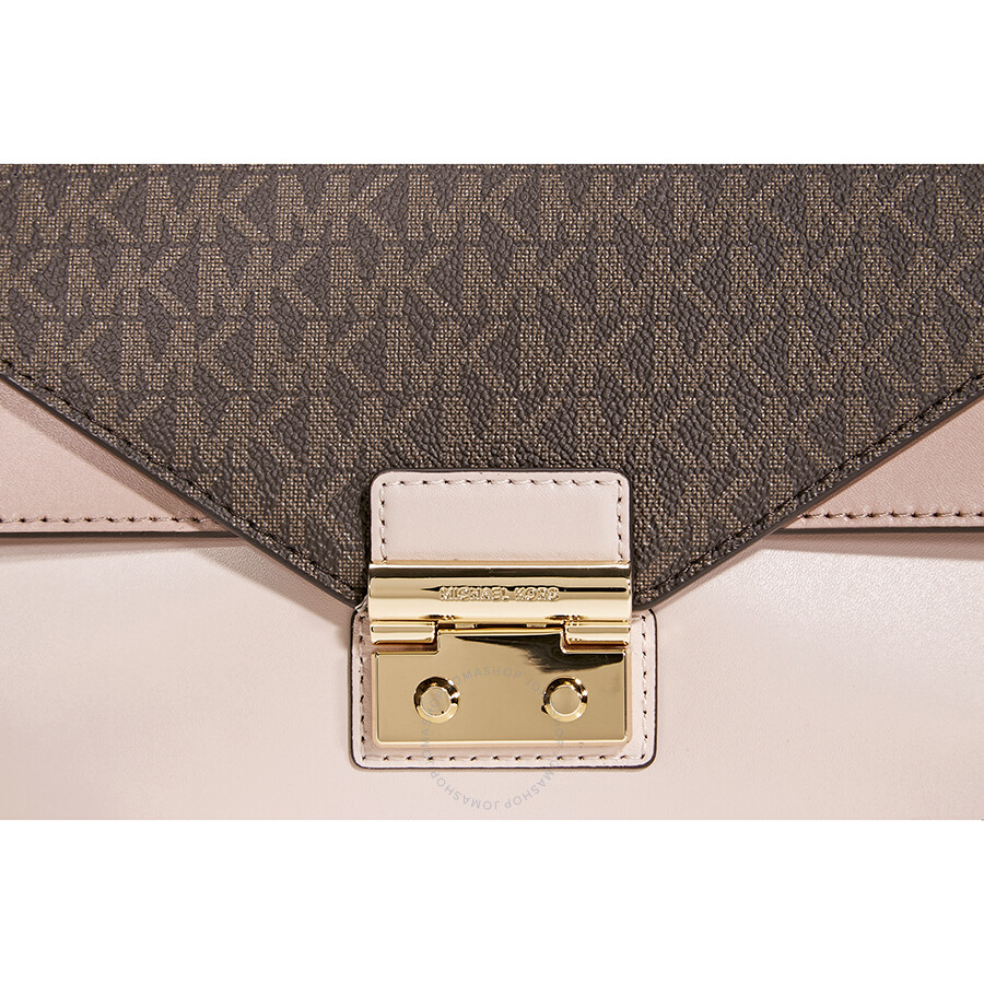 7f5b3f7d1b44d Michael Kors Sloan Medium Leather and Logo Satchel- Brown  Soft Pink ...