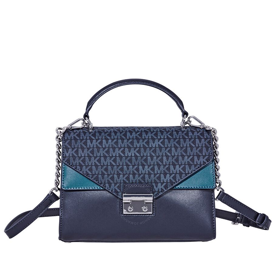 763f12fece715 Michael Kors Sloan Medium Leather Satchel - Heritage Blue Multi Item No.  30F8SSLS2V-473