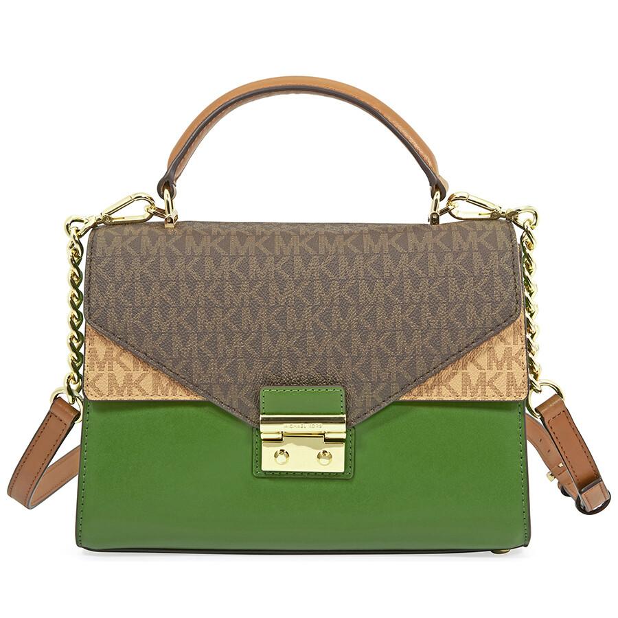 52cf60db15c879 Michael Kors Sloan Medium Leather Satchel- Brown/Acorn/True Green Item No.  30T8GSLS2V-392