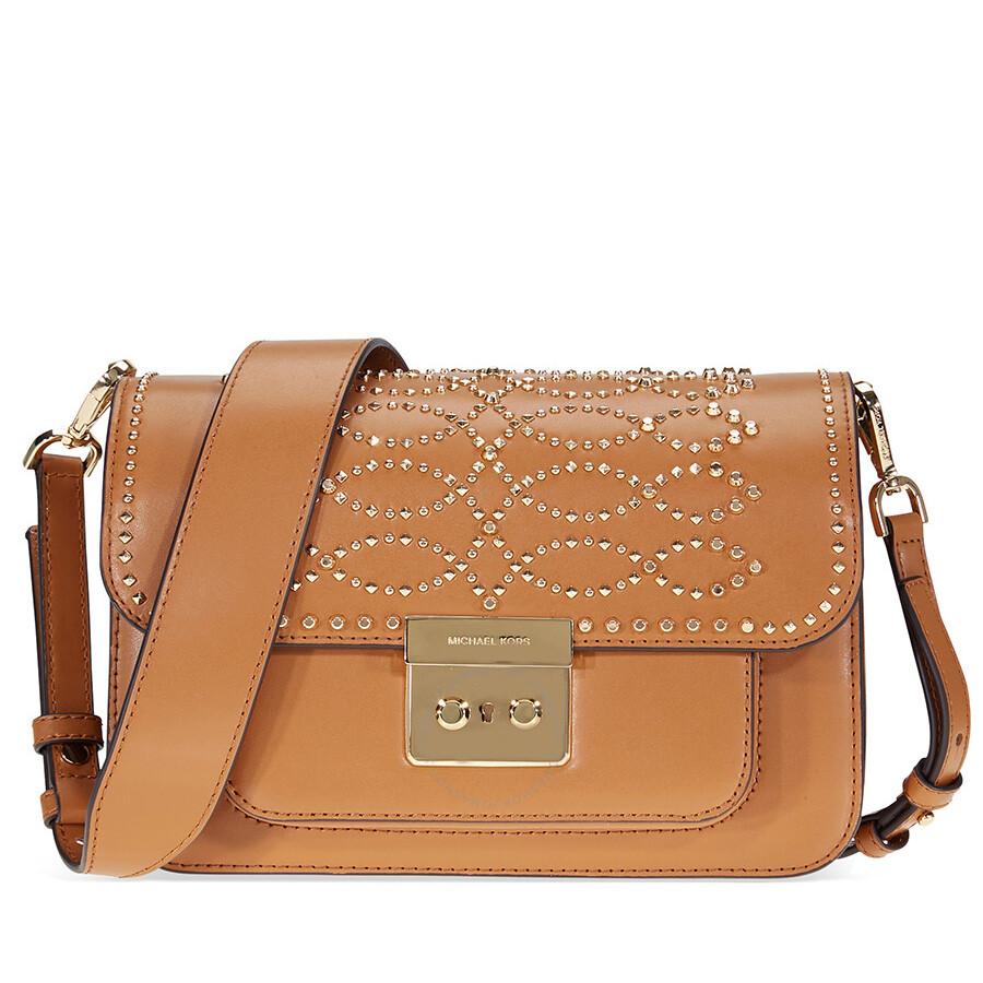 Michael Kors Sloan Studded Leather Shoulder Bag Acorn