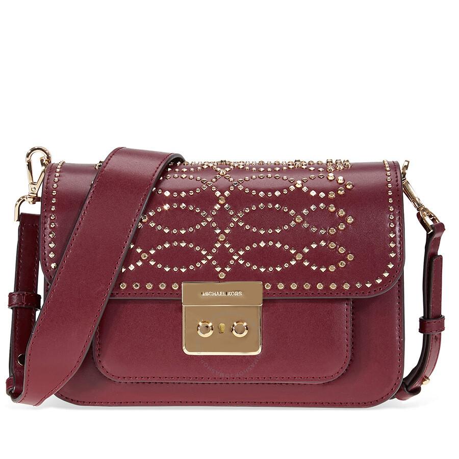 37228d3d9834 Michael Kors Sloan Studded Leather Shoulder Bag - Oxblood - Sloan ...