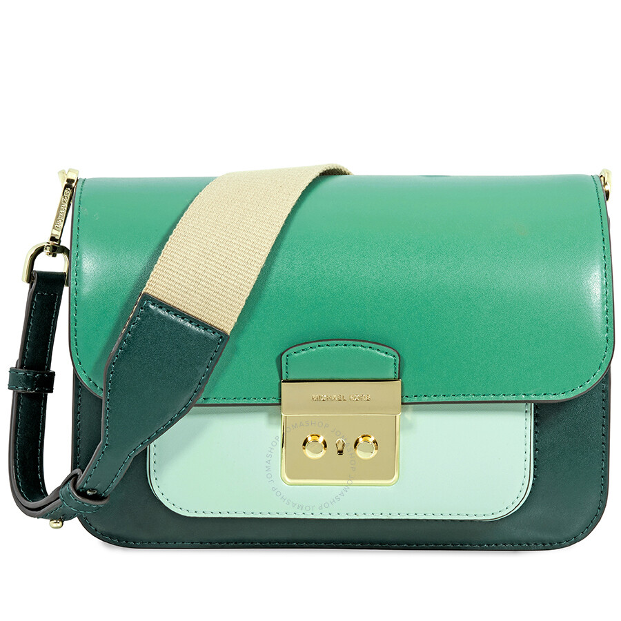 michael kors sloan tri color leather shoulder bag racing green rh jomashop com