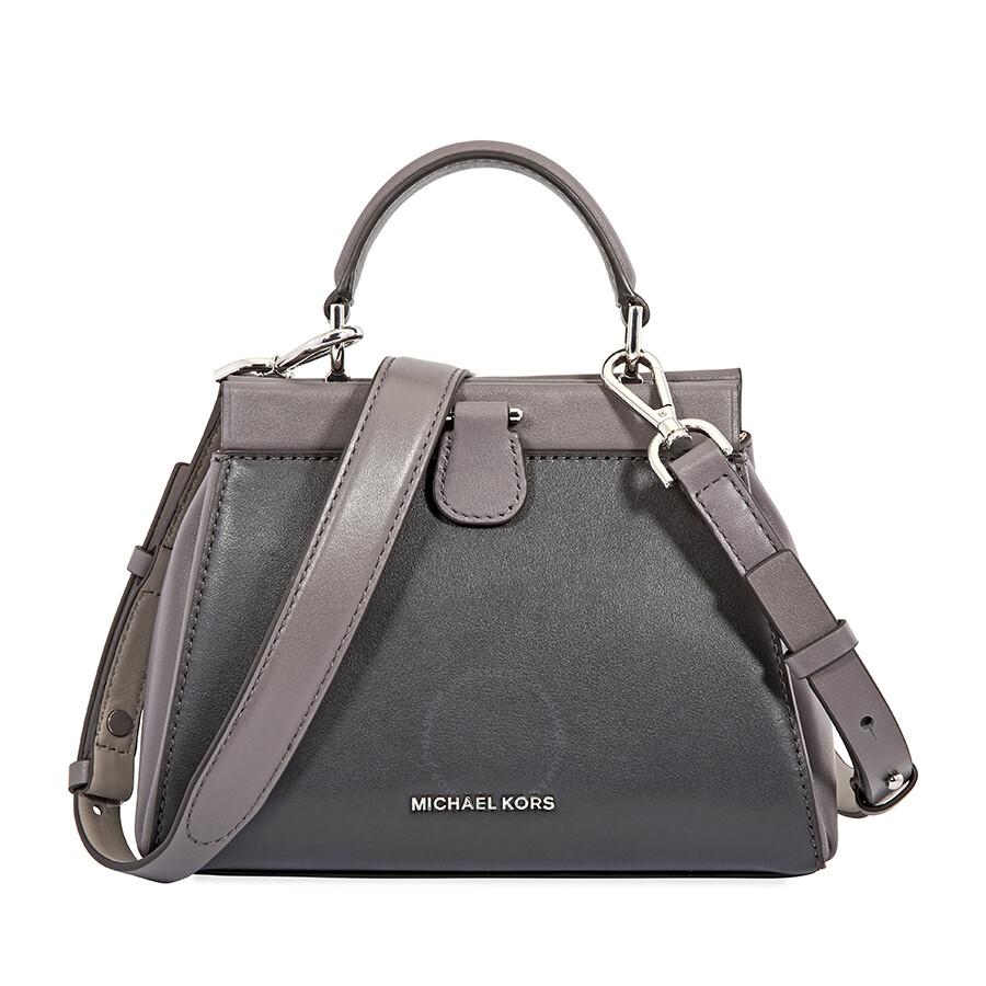 15578940e9e7 ... store michael kors small gramercy leather satchel charcoal multi 08285  3cad0