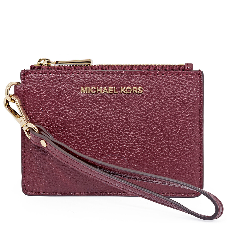 fa145086f005 Michael Kors Small Mercer Pebbled Leather Coin Case- Oxblood Item No.  32T7GM9P0L-610