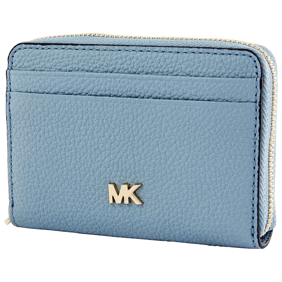 0e061c369376 Michael Kors Small Pebbled Leather Wallet- Powder Blue - Michael ...