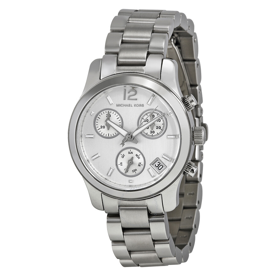 michael kors small runway silver stainless steel