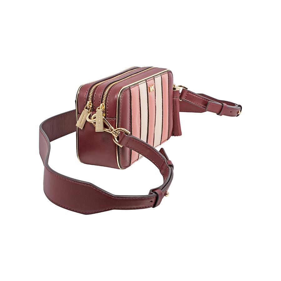 7501b016d9c87d Michael Kors Small Tri-Color Leather Camera Bag - Oxblood Multi ...