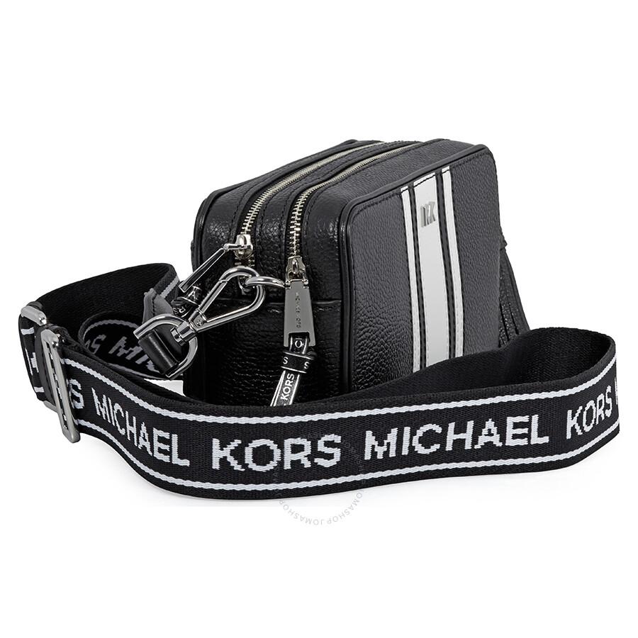 5453130513 Michael Kors Small Logo Tape Camera Bag- Black/ Optic White ...