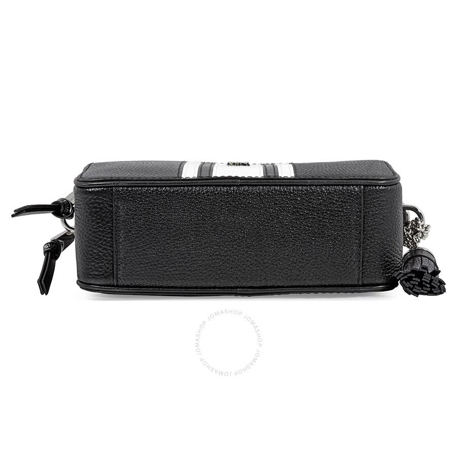 98f6c32aa Michael Kors Small Logo Tape Camera Bag- Black/ Optic White ...