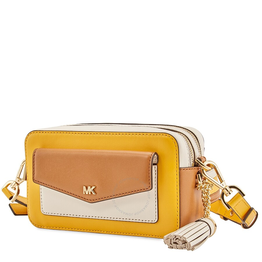 9cae95f5e928 Michael Kors Small Tri-Color Leather Camera Bag- Jasmine Yellow Multi
