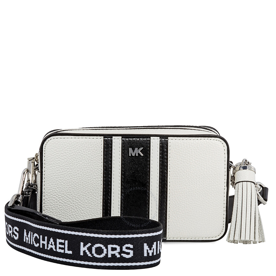 Michael Kors Small Tri Color Leather Camera Bag Optic White Black