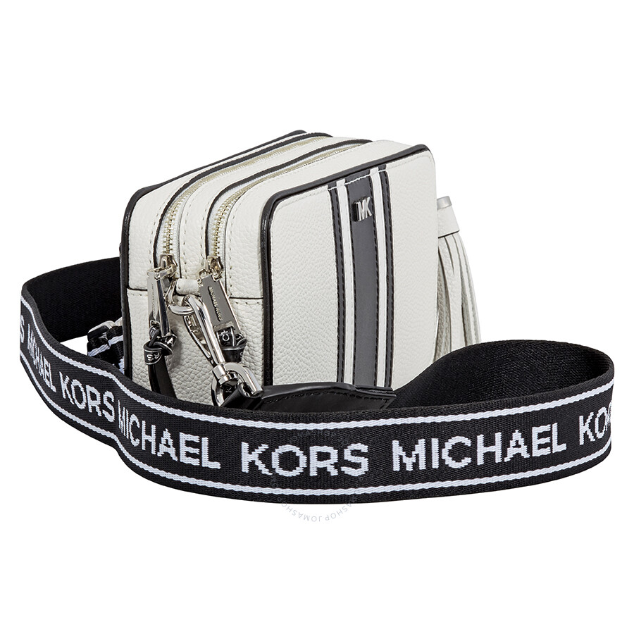 792b8c9eba Michael Kors Small Tri-Color Leather Camera Bag- Optic White/Black ...