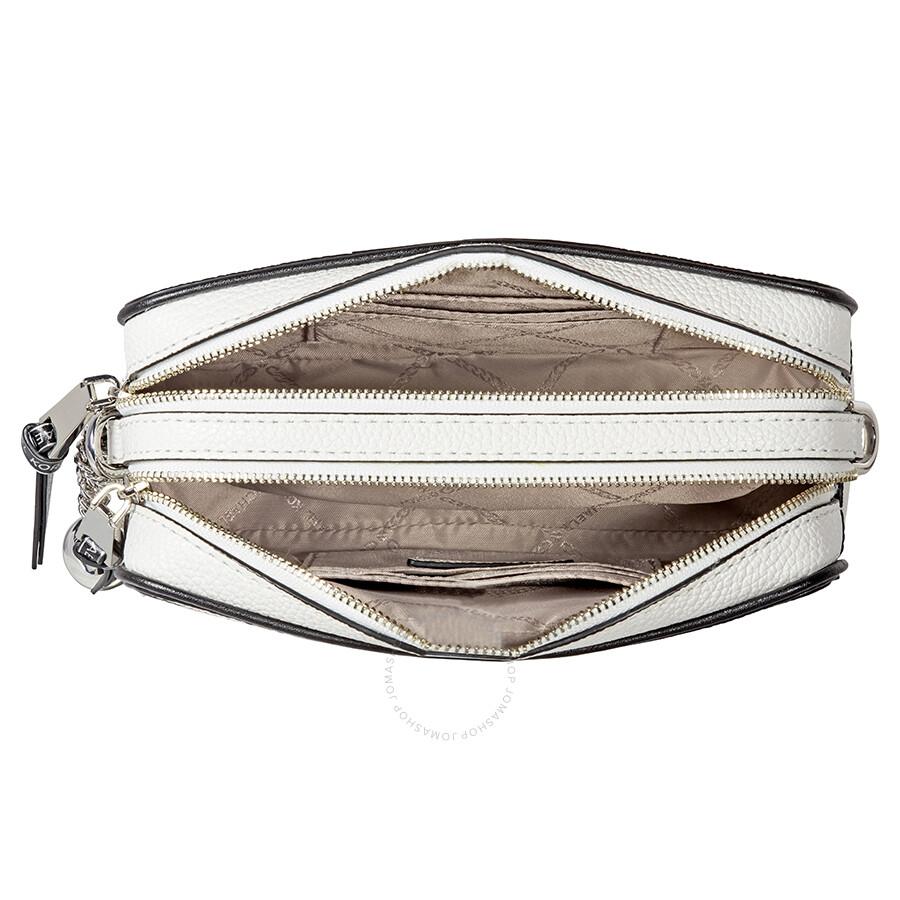 6ca8a0103 Michael Kors Small Tri-Color Leather Camera Bag- Optic White/Black ...