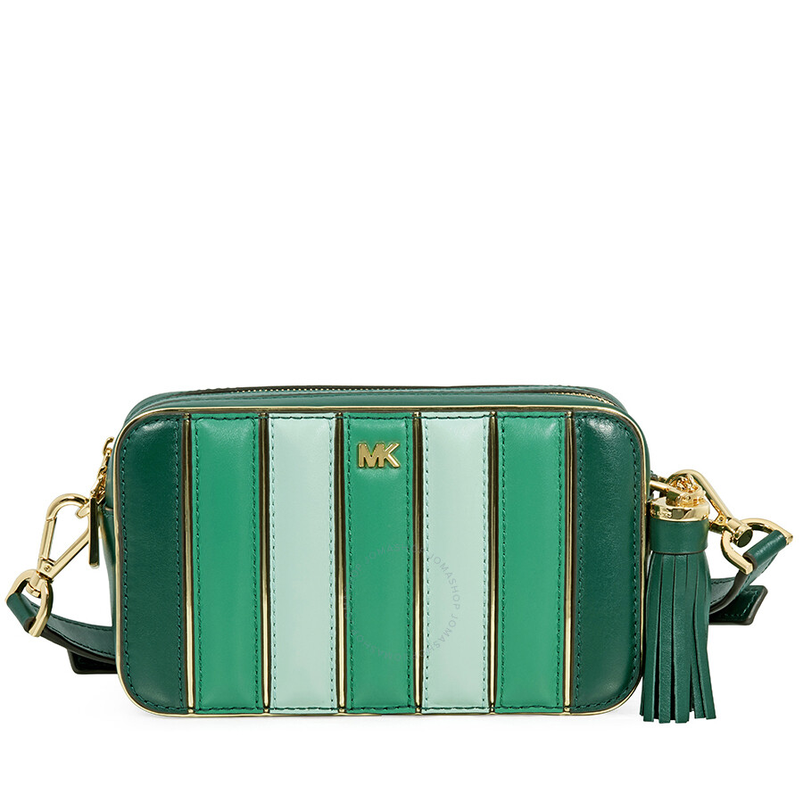 35ab70671d7de3 Michael Kors Small Quilted Tri-Color Leather Camera Bag- Racing Green Multi  Item No. 32H8GF5M2K-326