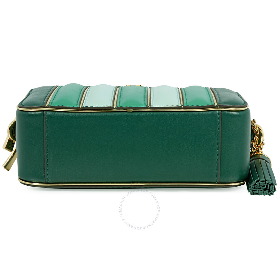 a7a1f5cc6d6c82 Michael Kors Small Quilted Tri-Color Leather Camera Bag- Racing Green Multi