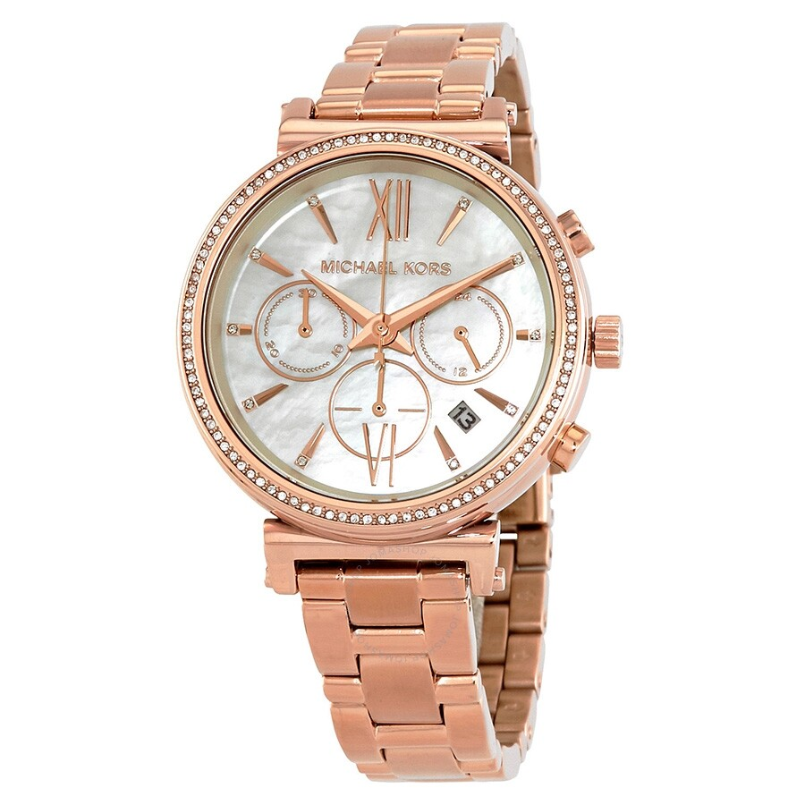 8e9a45343a98 Michael Kors Sofie Chronograph Crystal Mother of Peal Dial Ladies Watch  MK6576 ...
