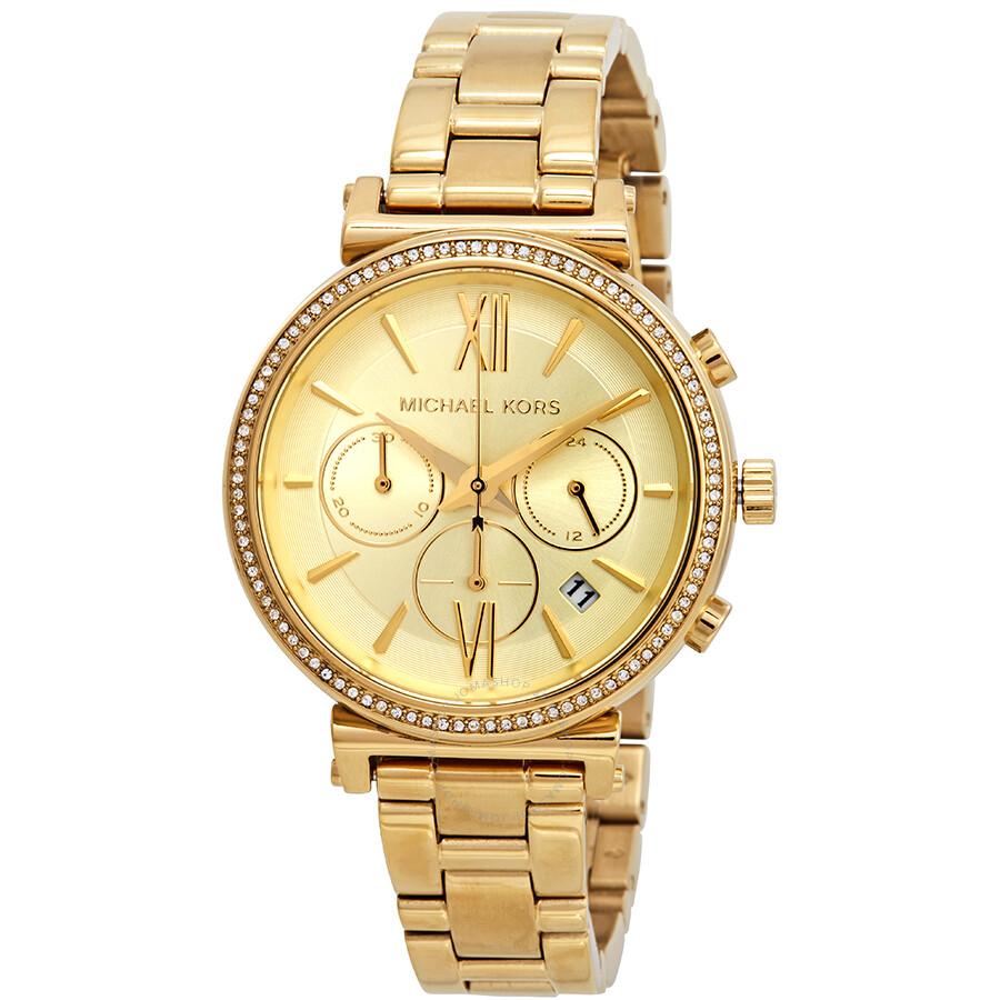 Michael Chronograph Ladies Sofie Kors Dial Crystal Gold Watch Mk6559 QshrtdCx