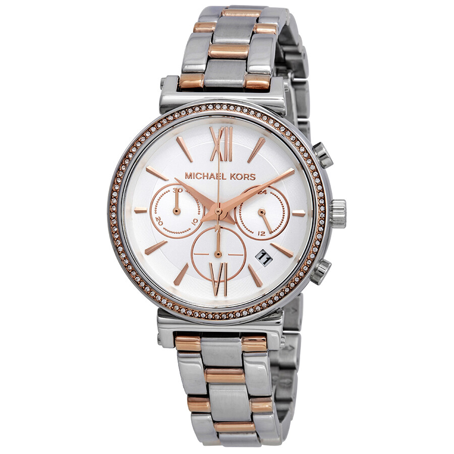 Michael Kors Sofie Chronograph Crystal Silver Dial Ladies Watch