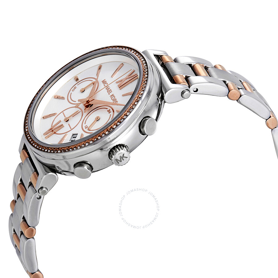 67668f1c4 ... Michael Kors Sofie Chronograph Crystal Silver Dial Ladies Watch MK6558  ...