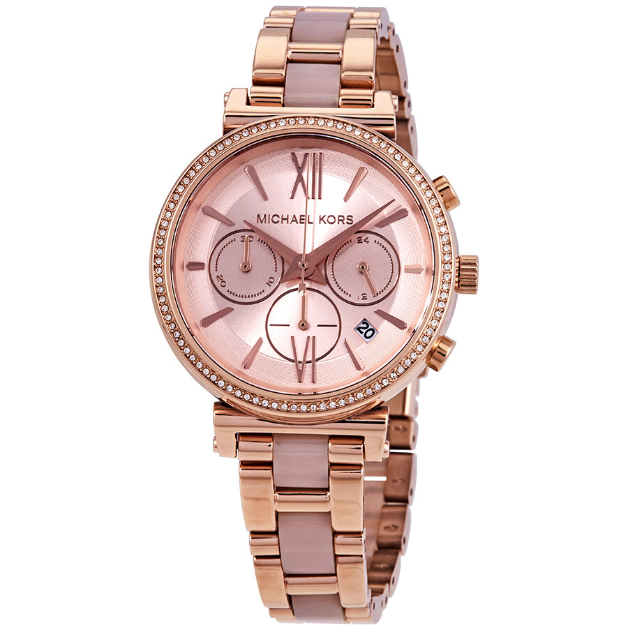 Michael Kors Sofie Chronograph Rose Dial Ladies Watch Mk6560