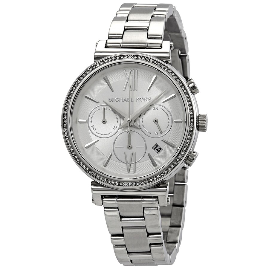 301ecc693 Michael Kors Sofie Chronograph Silver Dial Ladies Watch MK6575 ...