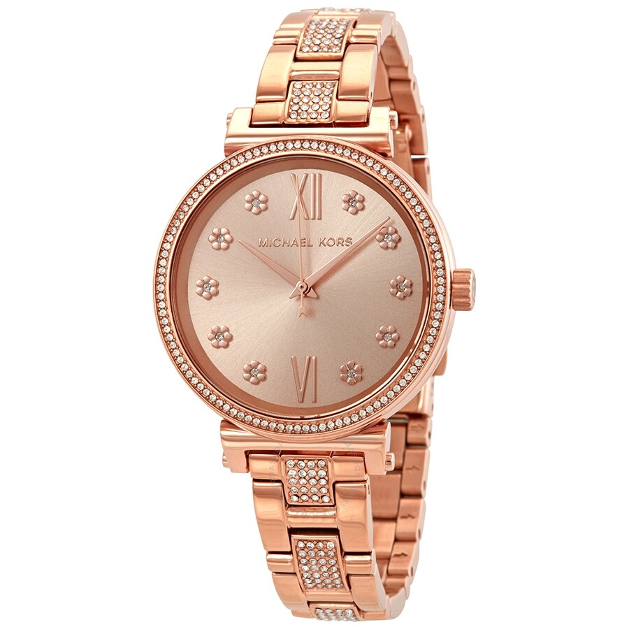 39bc64fc6 Michael Kors Sofie Crystal Rose Dial Ladies Watch MK3882 - Michael ...