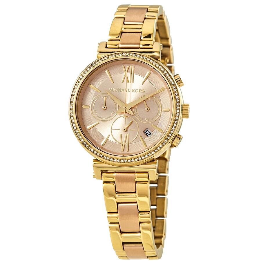 185b6f4a9cc9 Michael Kors Sofie Crystal Rose Gold Dial Ladies Watch MK6584 ...
