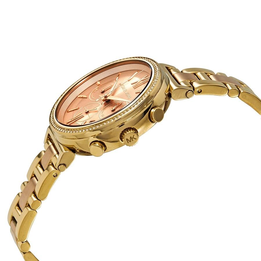 3344f38352bc ... Michael Kors Sofie Crystal Rose Gold Dial Ladies Watch MK6584 ...
