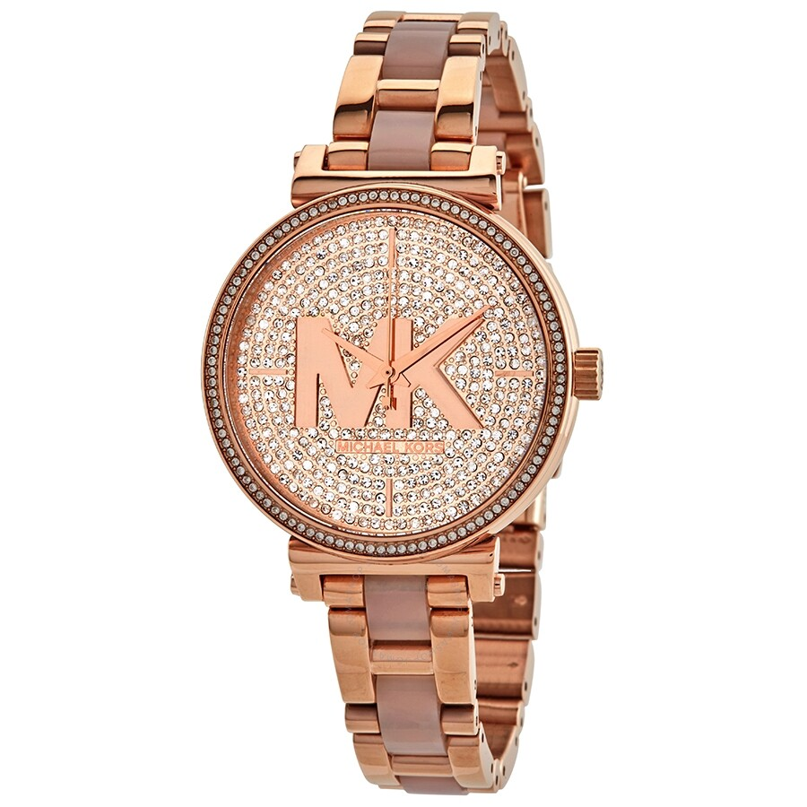 cheapest coupon code fast delivery Michael Kors Sofie Quartz Crystal Rose Gold Dial Ladies Watch MK4336