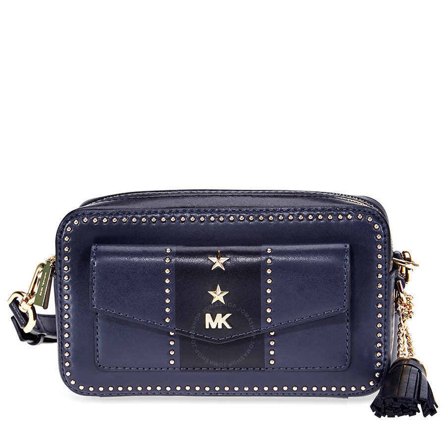 ccd716b98f09 Michael Kors Studded Leather Crossbody - Navy   Black Item No.  32F8GF5M5Y-429