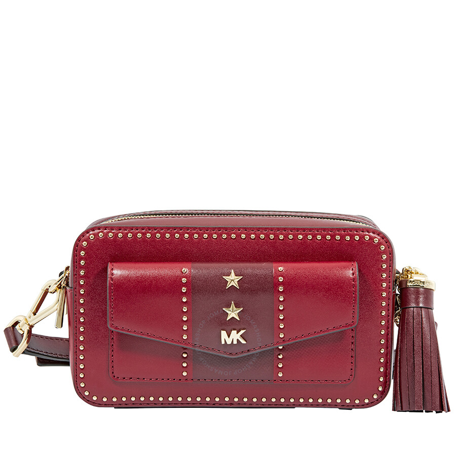 2237d04d0fd92e Michael Kors Studded Leather Crossbody - Red - Michael Kors Handbags ...
